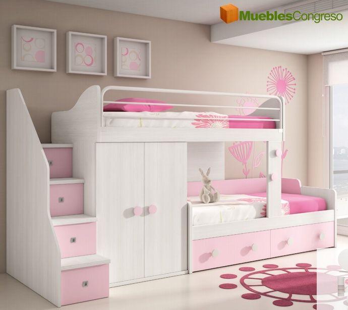 Camas literas buscar con google dormitorios juveniles teenagers bedrooms pinterest for Habitaciones juveniles 3 camas