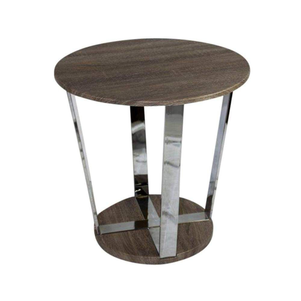 Contemporary Round End Table Brown And Silver End Tables Cheap End Tables End Table Sets
