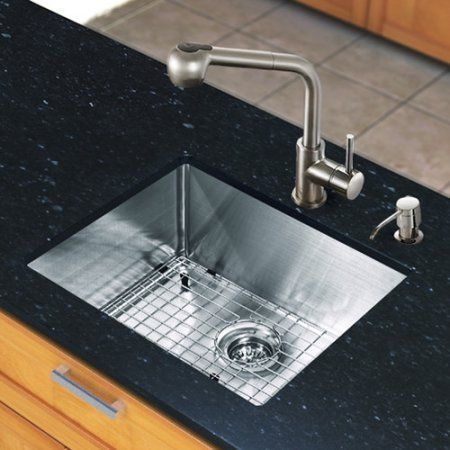 Vigo All-in-One 23 inch Undermount Stainless Steel Kitchen Sink and Faucet Set, Silver