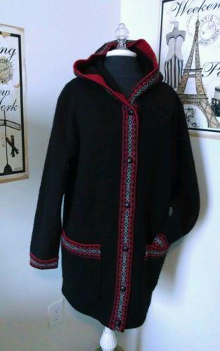 VTG LL BEAN Black WOOL HOODED SWEATER COAT Sz M Red Trim