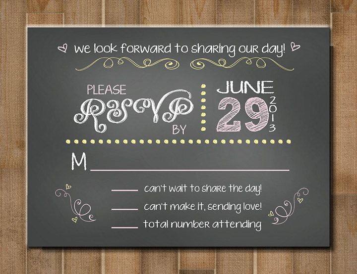 """Download PRINTABLE Response Card, RSVP Card: """"Chalk it Up lo Love ..."""