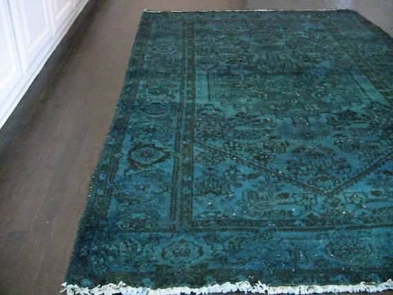 Vintage Persian Overdyed Rug Turquoise By Londonvarner On Etsy 500 00