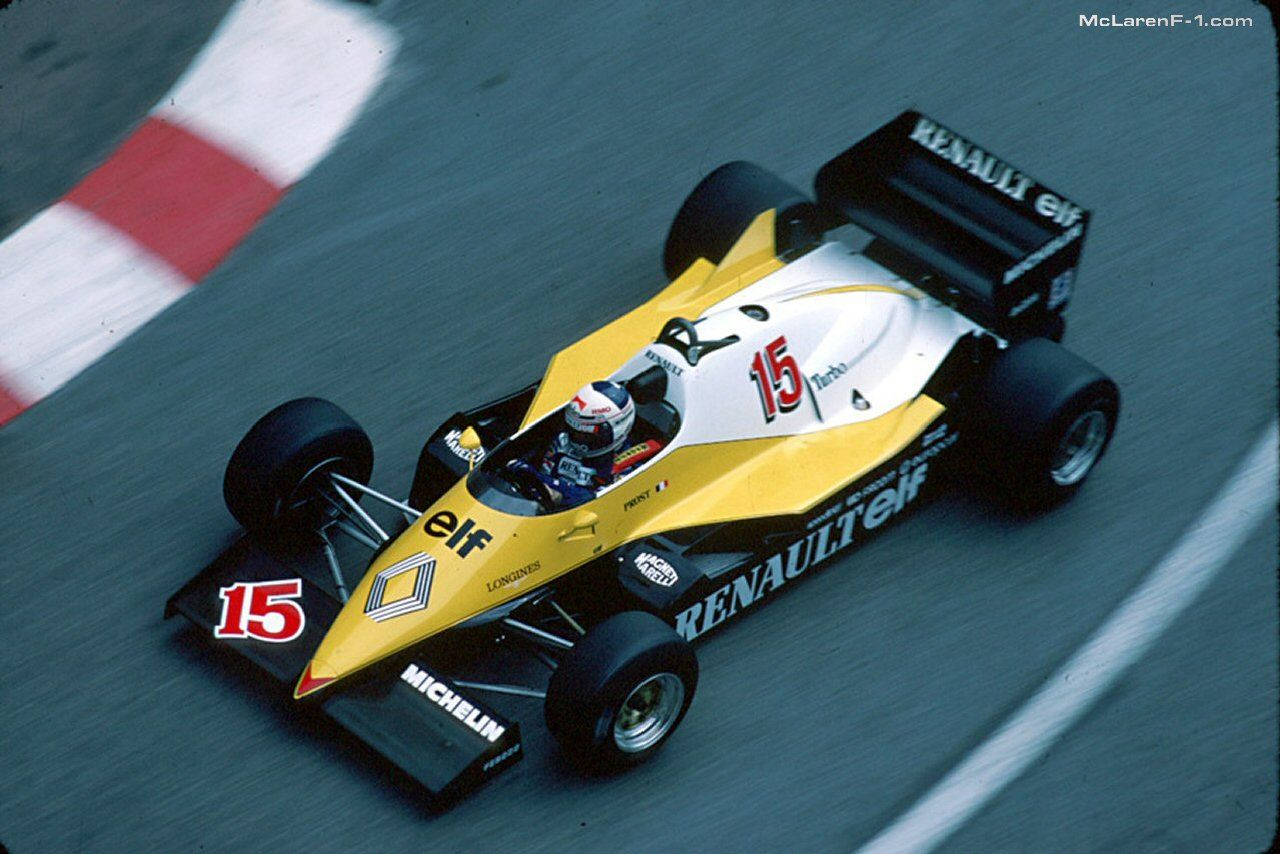 alain prost renault re40 1983 monaco gp f1 1980s. Black Bedroom Furniture Sets. Home Design Ideas