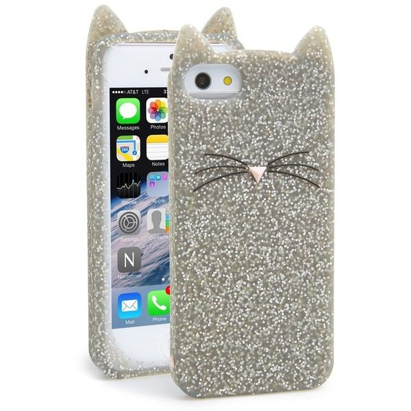 Women s kate spade new york  glitter cat  iPhone 5   5s case found on  Polyvore c8575f7d74