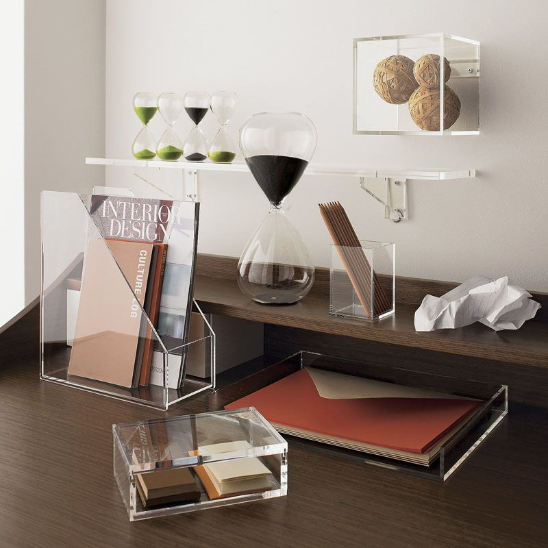 Awesome 5 Ways To Use Acrylic Decor Throughout Your House // Home Office   See  Where All Your Papers And Pens Are With Acrylic Desk Storage Solutions.