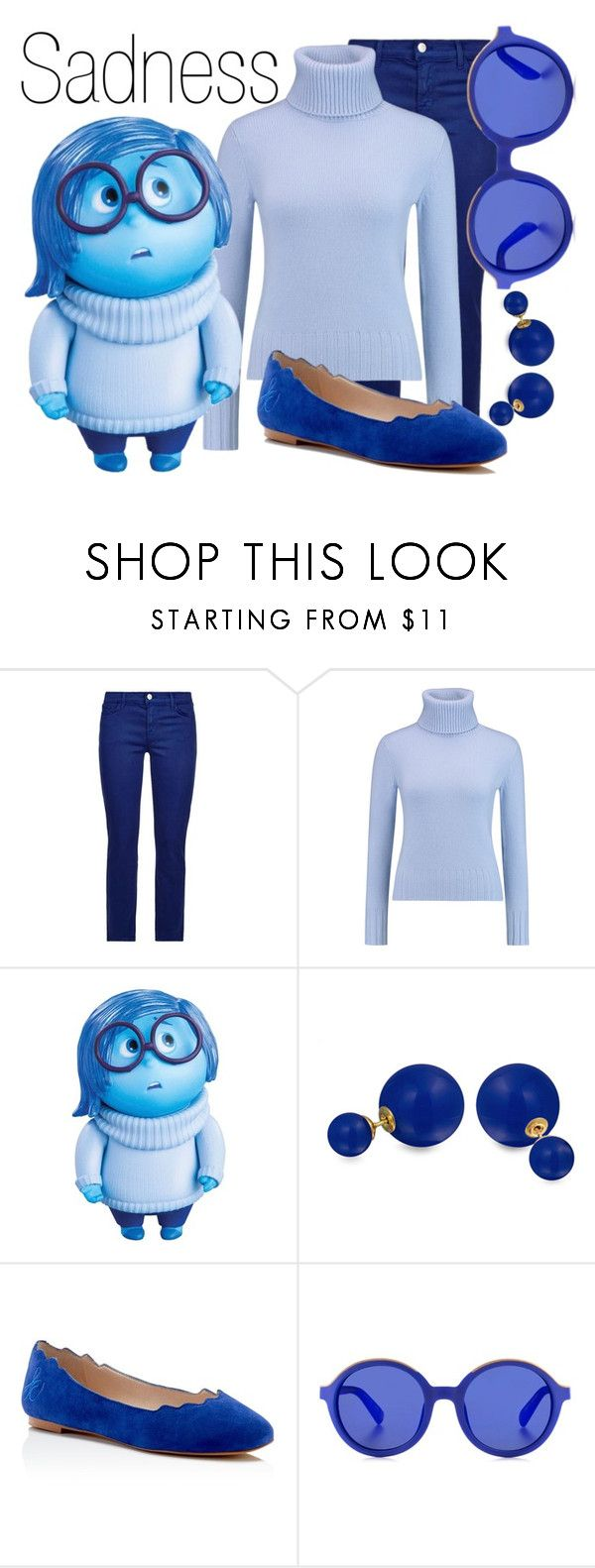 """""""Sadness~ DisneyBound"""" by basic-disney ❤ liked on Polyvore featuring J Brand, N.Peal, Disney, Bling Jewelry, Sam Edelman and Etnia Barcelona"""