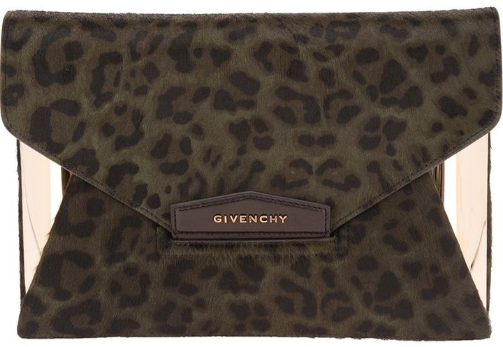 a3dd3b64c7 Givenchy 'Antigona' leopard print envelope clutch on shopstyle.com ...