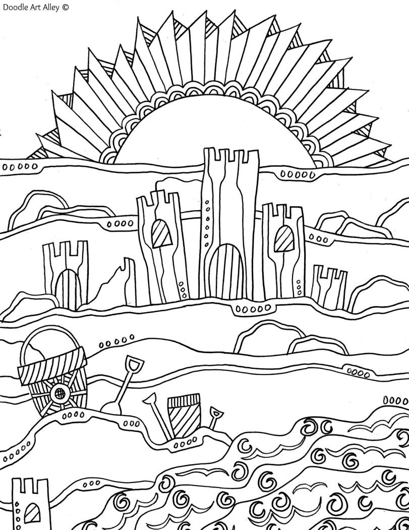 Zentangle of Summer Beach (..would be fun to color this while ...