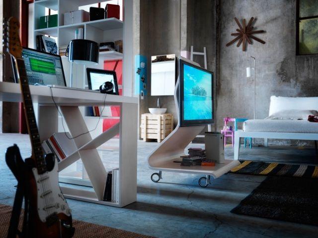 moderne wohnzimmer-möbel tv-ständer auf-rollen mit-bremse Ideen - moderne mobel wohnzimmer