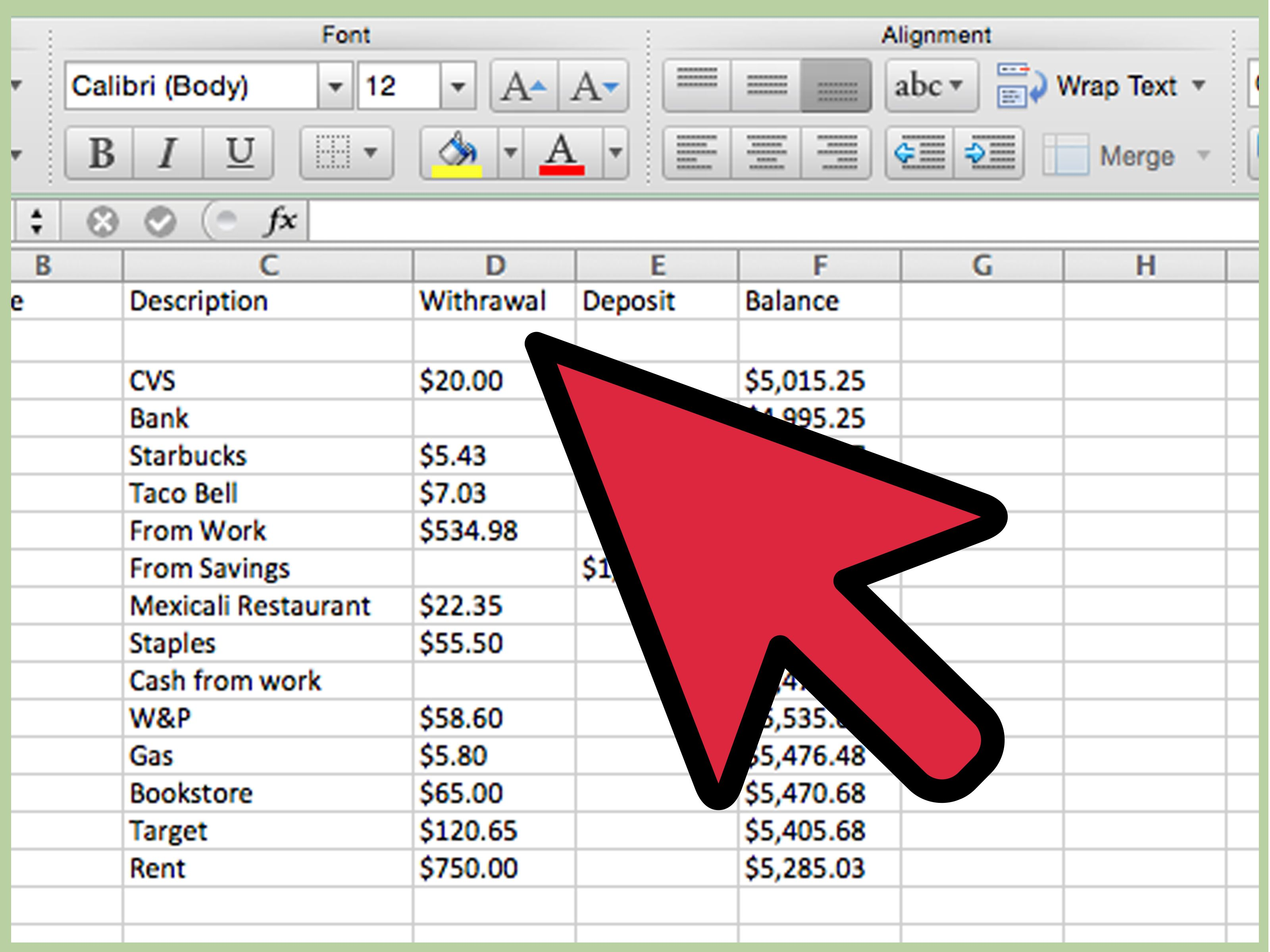 create a simple checkbook register with microsoft excel finance