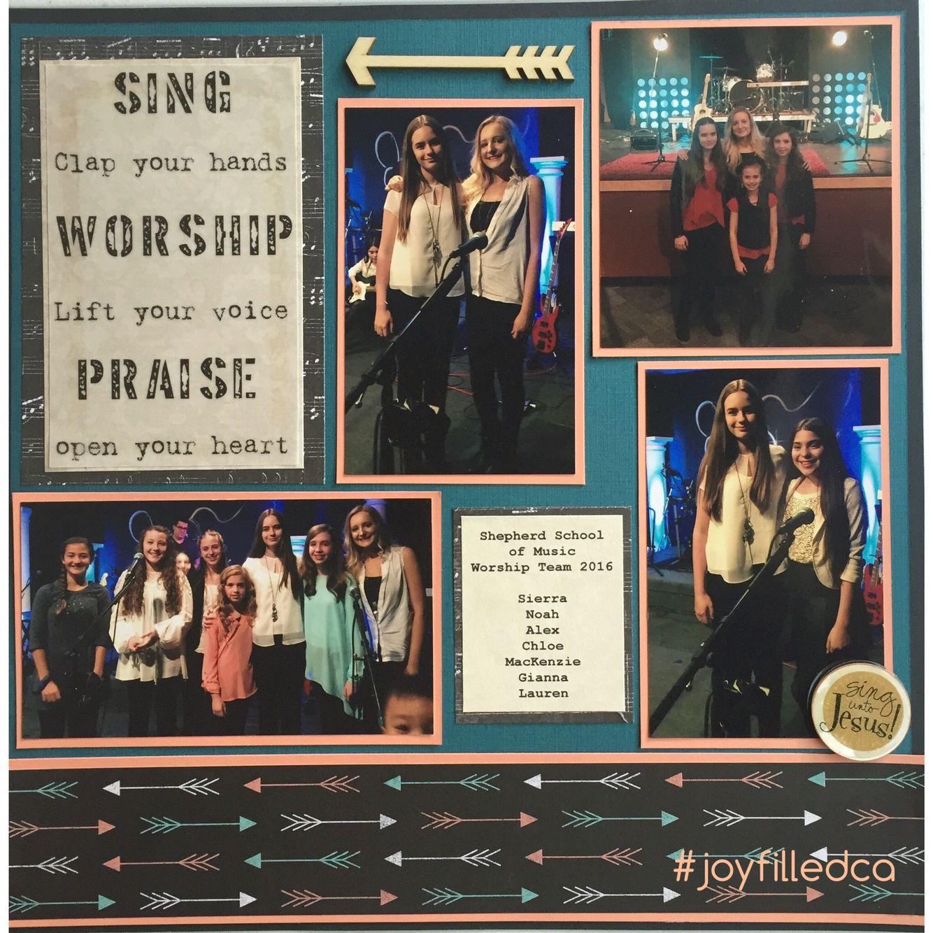 Worship layout. This layout displays her praise & worship band. Album by JoyFilled Custom Albums. #praiseandworshiplayout #joyfilledca #customscrapbook #praisebandlauout #arrowlayout
