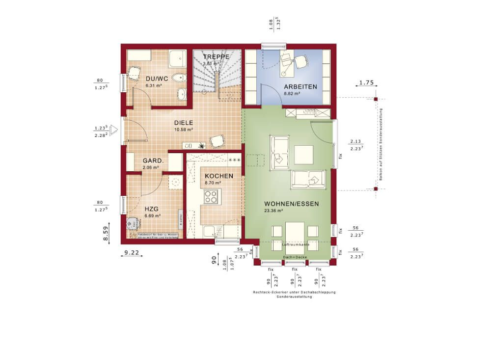 FERTIGHAUS Grundriss * HAUS Solution 134-V6 Living Haus - offene kuche wohnzimmer grundriss