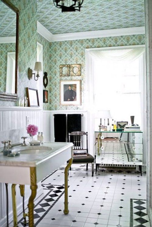 Love the wall papered walls  ceiling! Works because of the big