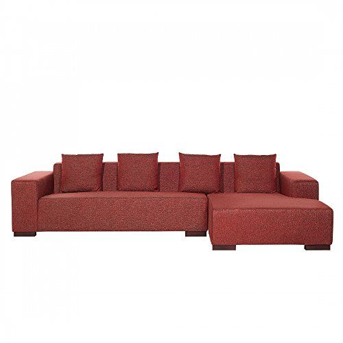 Modern Sectional Sofa - Fabric Upholstered Couch - LUNGO Red L