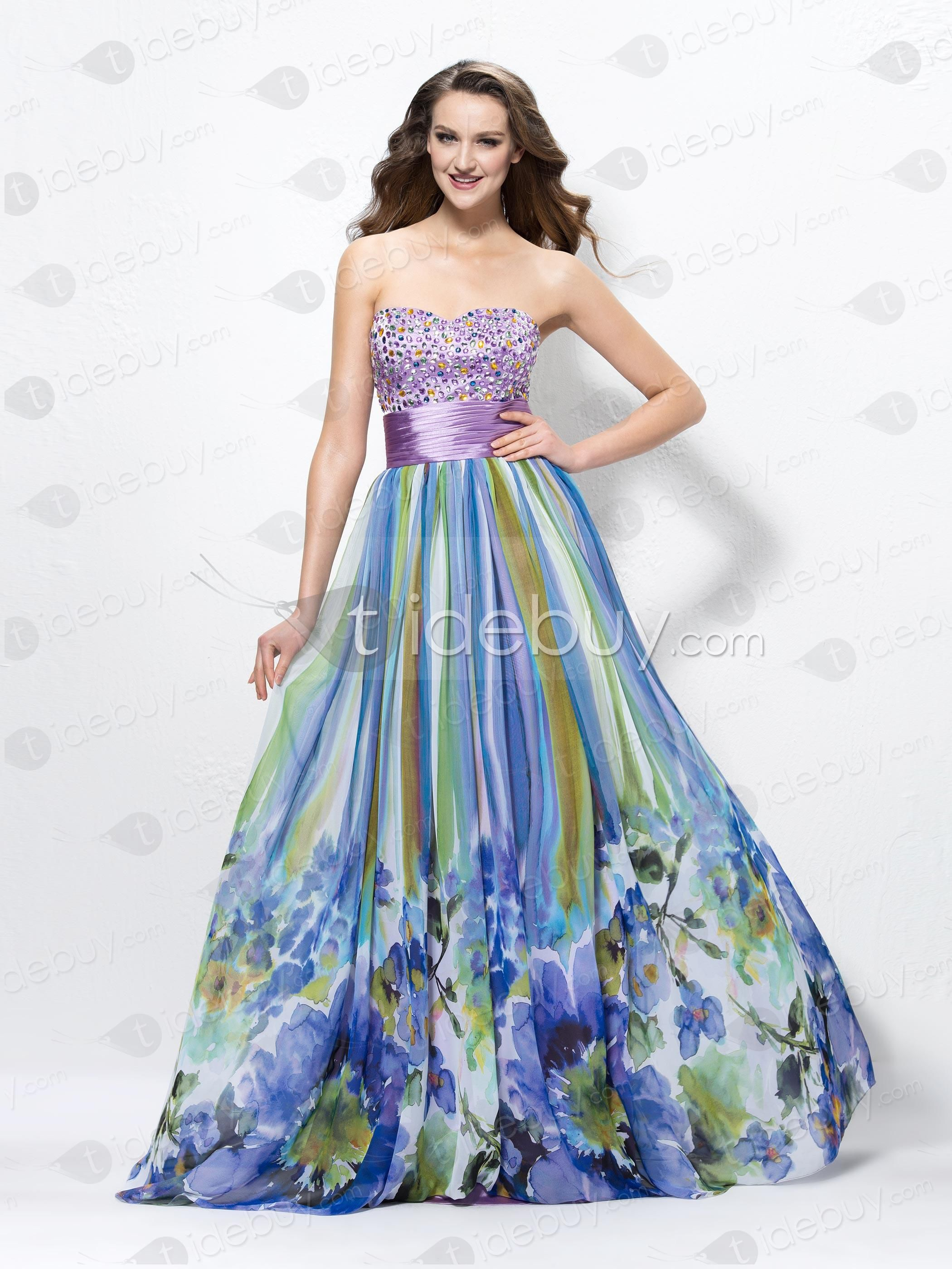 Charming A-Line Sweetheart Beading Lace-up Print Prom Dress | Prom ...