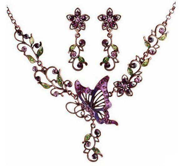 SwirlColor Donna retrò viola eleganti farfalle Style Set Orecchini Collana