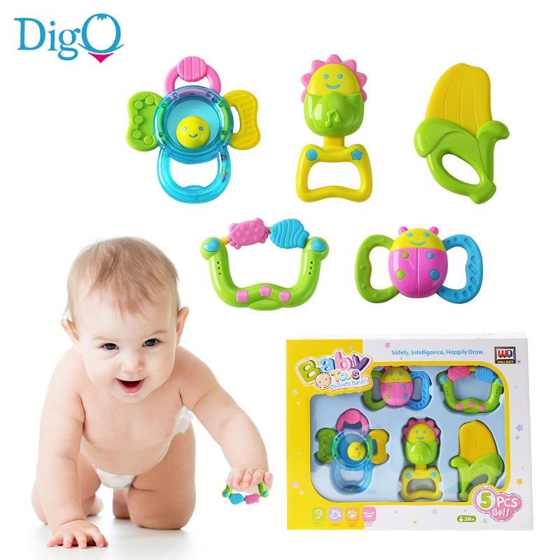 5f7e417bf922 5pcs Set Baby Rattles and Teether Infant Cartoon Sunflower Banana Bed Bell  Hand Rattles Toy