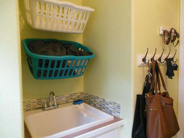 Hang Laundry Baskets On Hooks Laundry In Bathroom Laundry Room Bathroom Dream Laundry Room