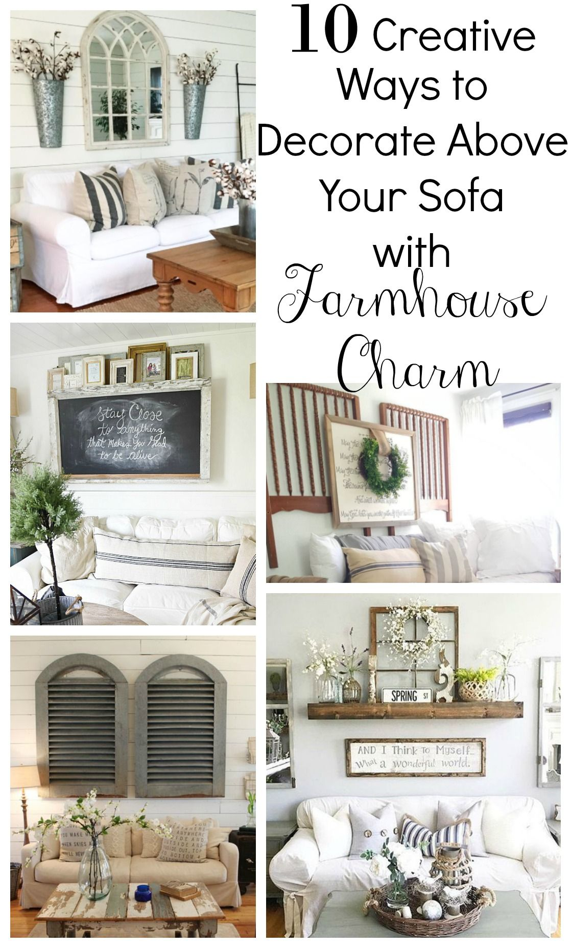 Creative Ways to Decorate Above the Sofa - Sarah Joy  Farm house