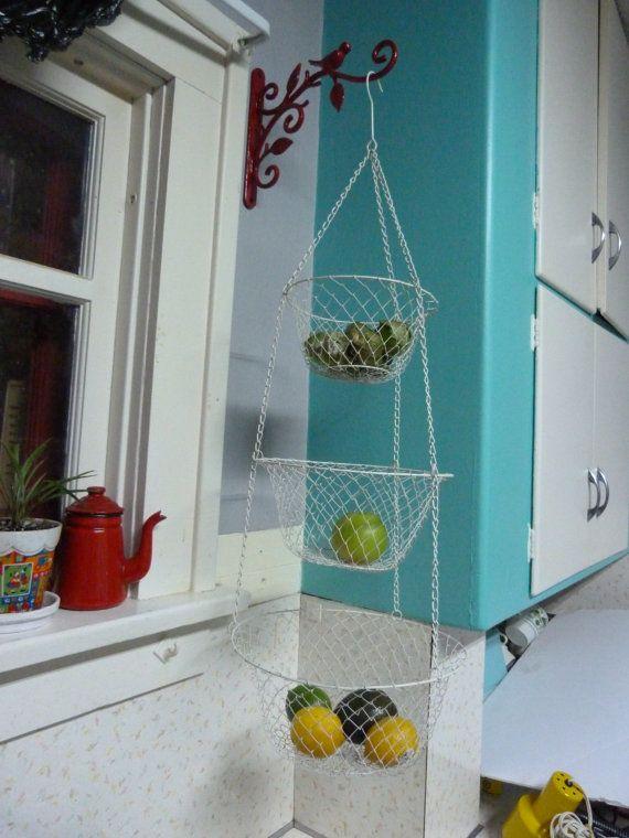 Vintage White 3 Tier Wire Hanging Kitchen Basket, Kitchen Hanging ...