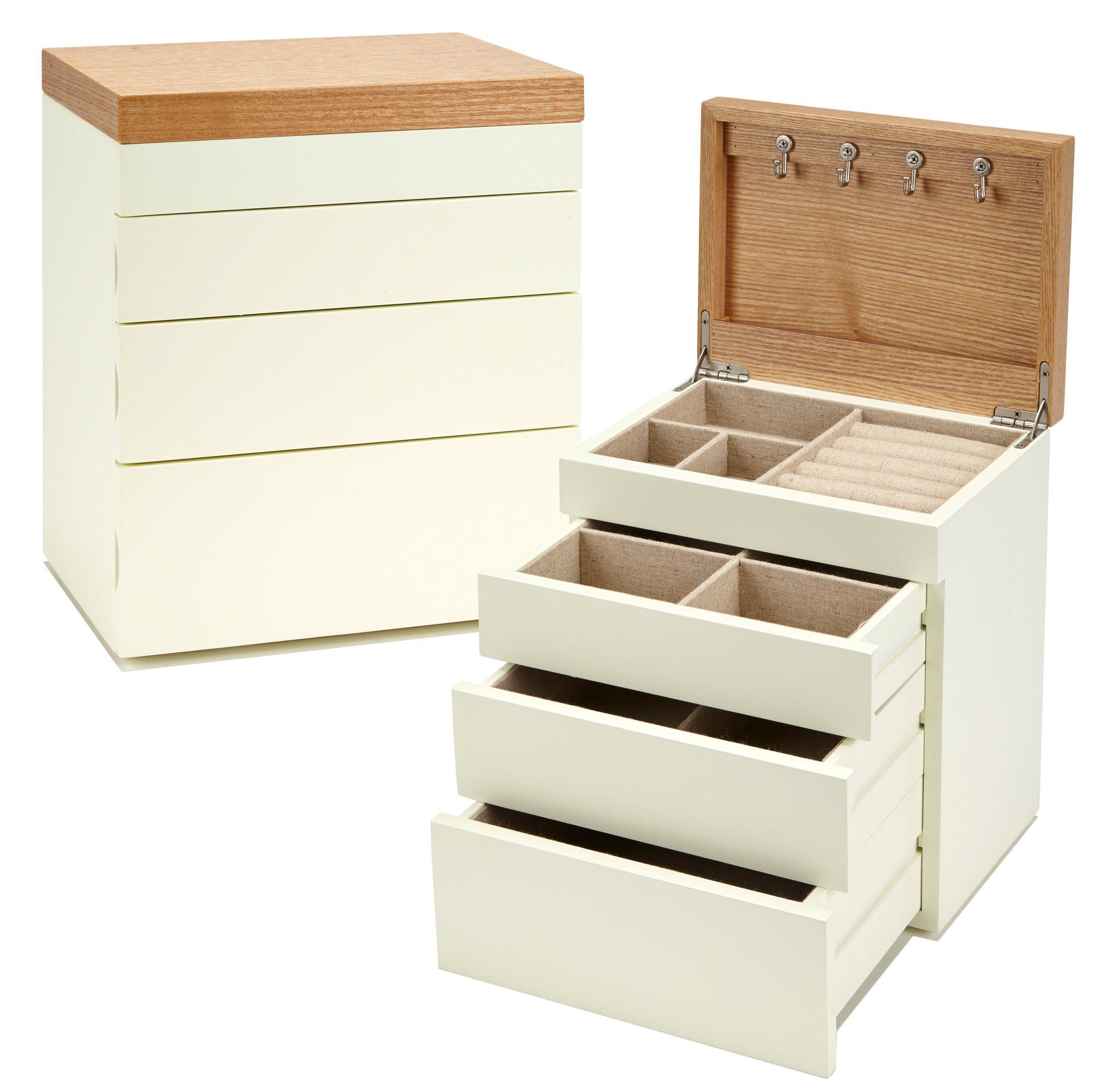 Seya TwoTone Modern Jewelry Box Organizer with Drawers Cream