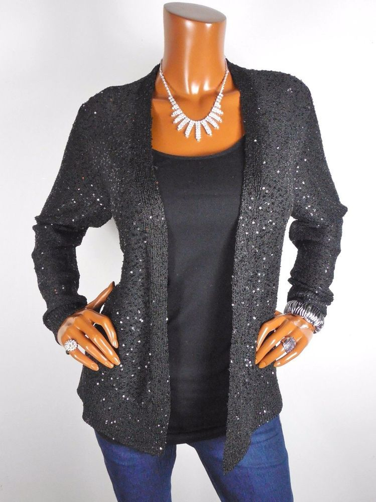 Womens Top L Black Open Cardigan Blouse Casual Shirt Sequin Dressy ...