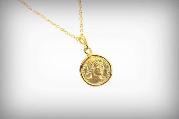 5ad451e0e63b7 Ancient Roman coin necklace 0.5 inch gold coin necklace, coin ...