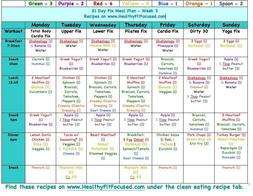 21 Day Fix- Example Meal Plan planner dieta diet plan heart health