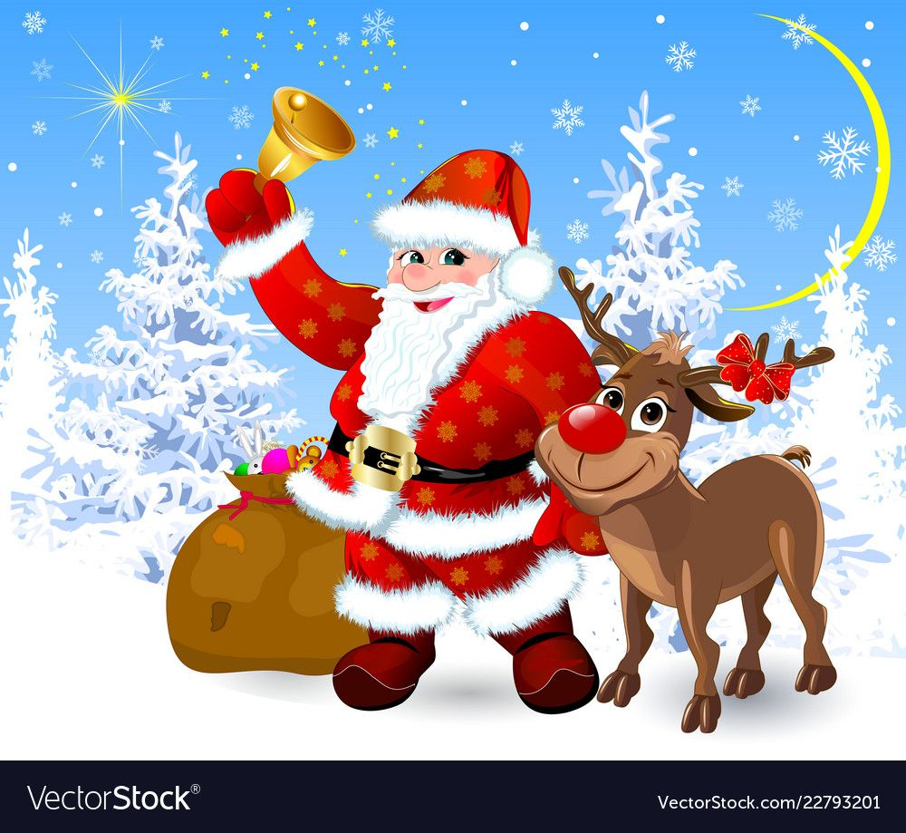 Santa And Reindeer On The Eve Of Christmas Vector Image On Vectorstock Christmas Paintings Christmas Vectors Christmas Images