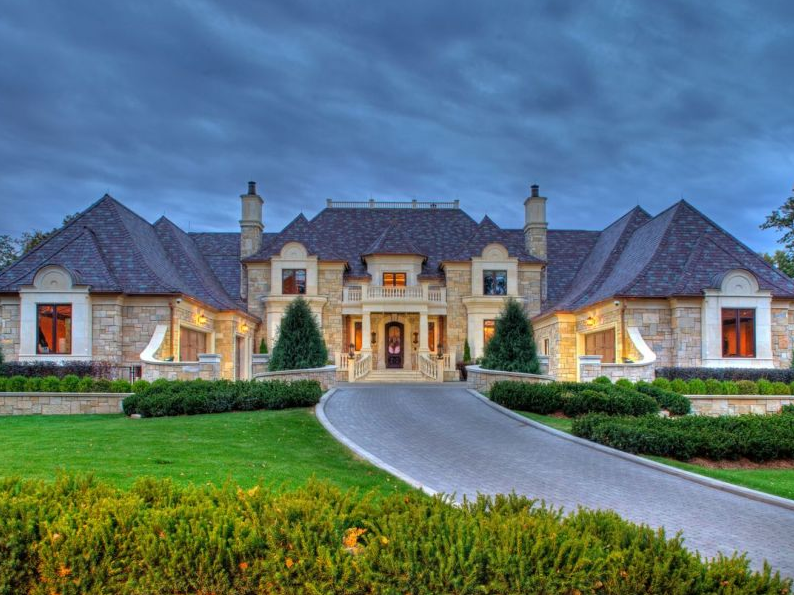 Traditional Stone House With Flared Gable Rooflines Dream House Exterior Stone Houses Modern Farmhouse Exterior