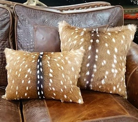"""These are gorgeous Axis Deer Hide Pillows. Genuine hair-on-hide front w/ faux leather backside. Available in 12""""x16"""" and 18""""x18"""". Handrafted in the USA."""