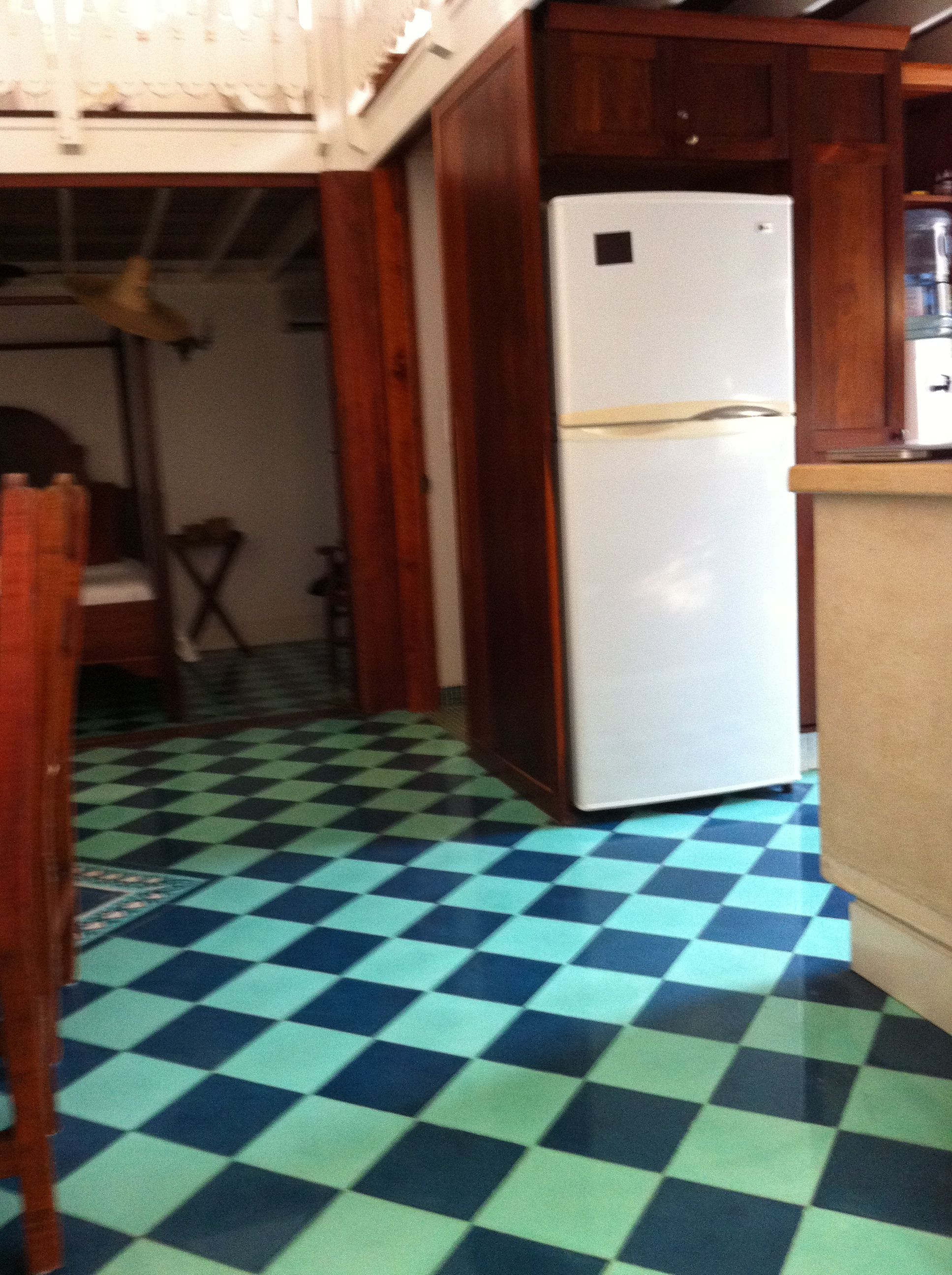 Checkerboard floor in hues of blue checkerboard floors checkerboard floor in hues of blue dailygadgetfo Gallery