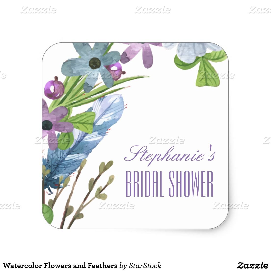 Watercolor Flowers and Feathers Square Bridal Shower Sticker