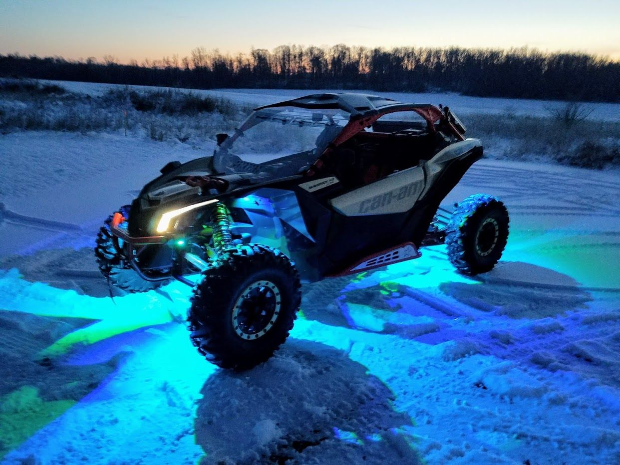 Can-am maverick X3 with Spike rock lights, blue would look great
