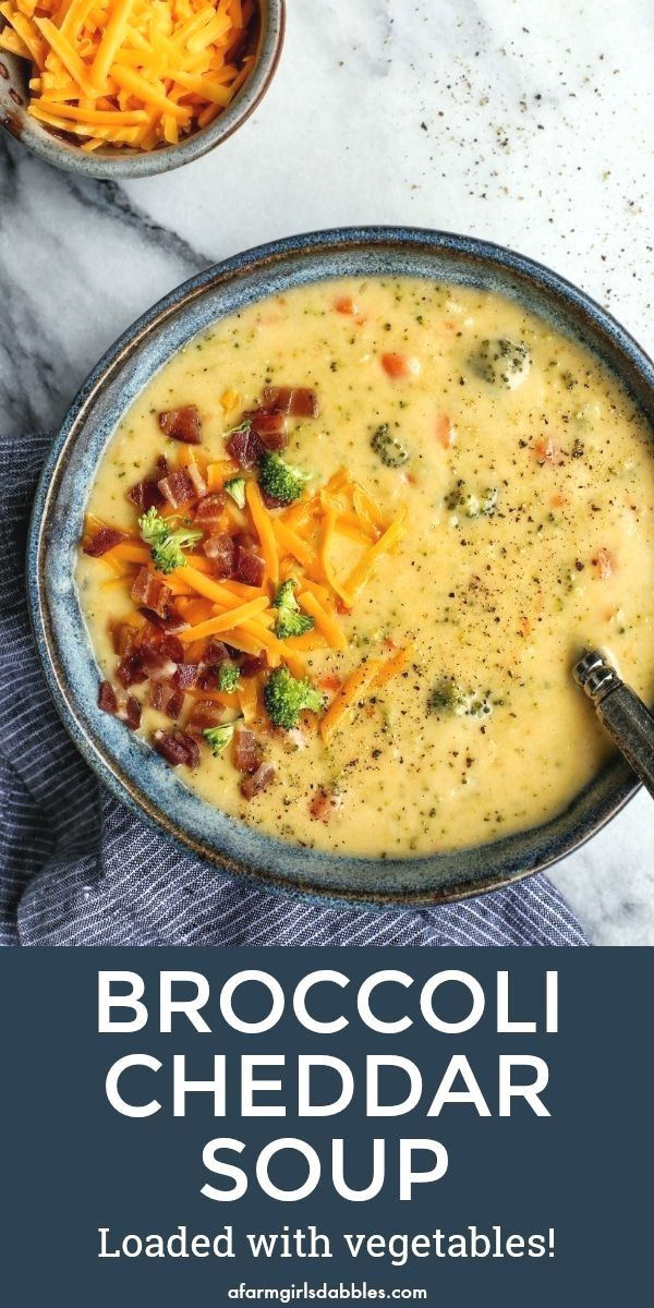 Broccoli Cheddar Soup Loaded with Vegetables from  - This broccoli cheese soup recipe is l