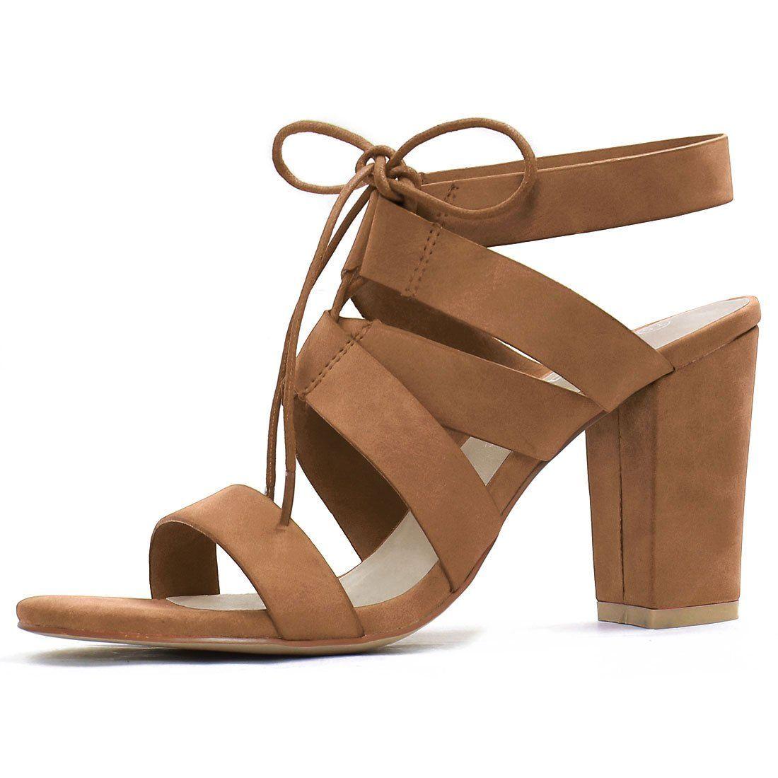 Women Open Toe Cutout Chunky Heel Lace-Up Sandals Light Beige US 7.5