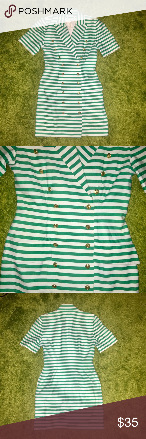 Vintage Striped Nautical Mini Dress sz4 This Vintage Green/White striped Nautical mini dress is perfect for summer, sz 4 its fits to the body and also can be worn as a blazer/jacket with buttons open, Super Cute!! Vintage Dresses Mini