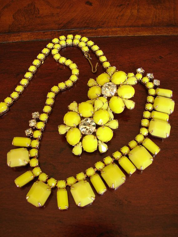 Rare Canary Yellow Demi Parure Earrings with signed by beastiii, $175.00