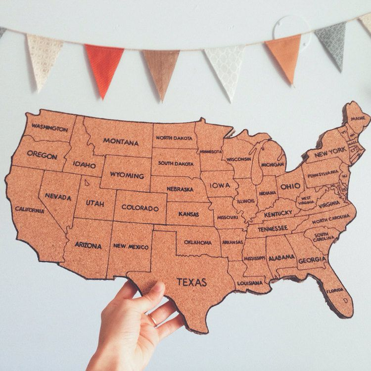 United States Corkboard Map With State Names USA By Amaginarium - Map of the united states with names