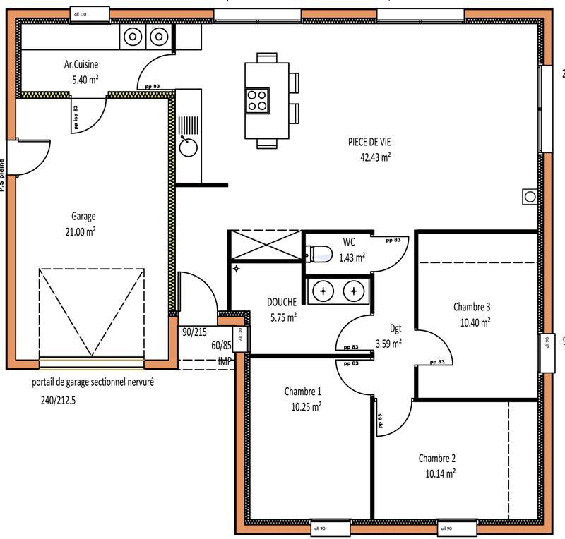 """Résultat de recherche d'images pour """"maison en l plain pied""""   Maison, Plan maison, Plan maison ..."""