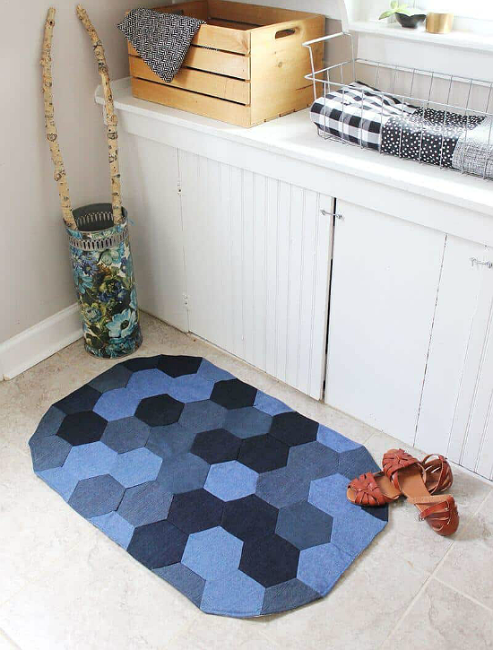 Make a Charming Hexie Rug from Old Jeans  Quilting Digest Make a Charming Hexie Rug from Old Jeans  Quilting Digest