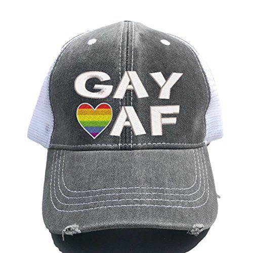 Sugar Road Custom Distressed Trucker Hat GAY AF Pride Baseball Cap Dad Hat 812618e7c6e4