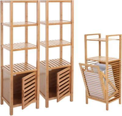 heute wohnen badezimmer set narita badschrank standregal w schekorb bambus 3 teilig jetzt. Black Bedroom Furniture Sets. Home Design Ideas