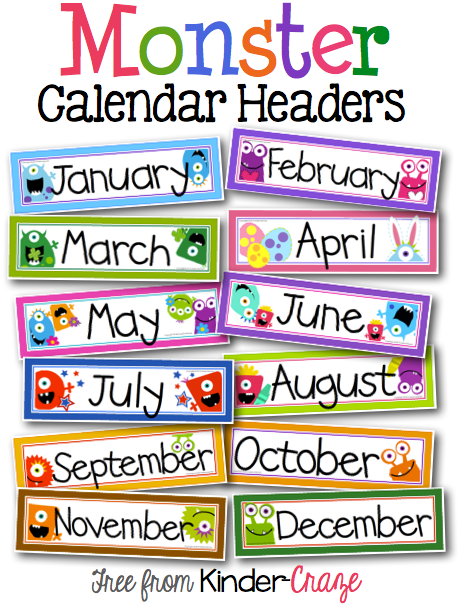 Classroom Calendar Template : Monster theme calendar headers classroom