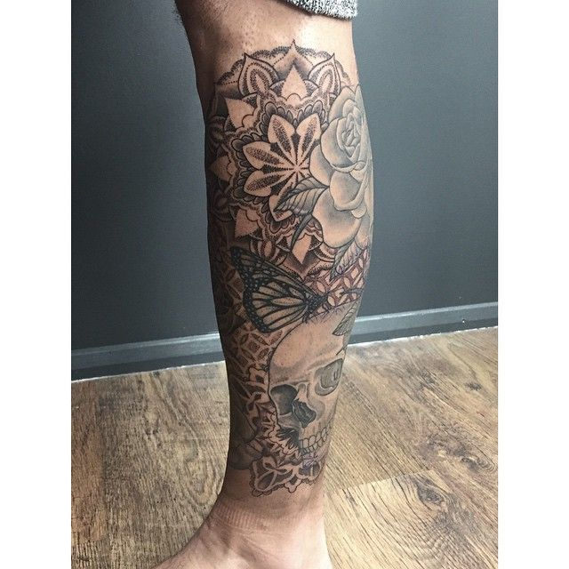 Mandala Tattoo Leg Sleeve