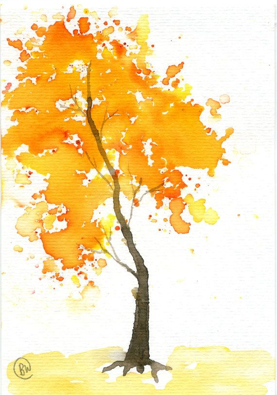 Articulos Similares A Pequena Acuarela Naranjo En Etsy Tree Watercolor Painting Fall Watercolor Colorful Art