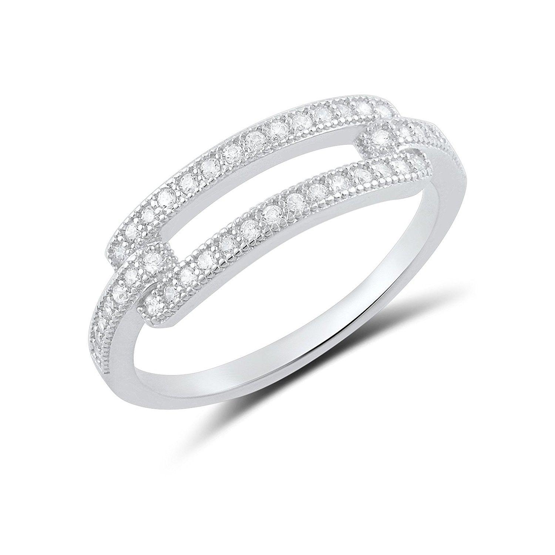 Sonara Jewelry-Cz Cross .925 Sterling Silver Ring Sizes 4-9