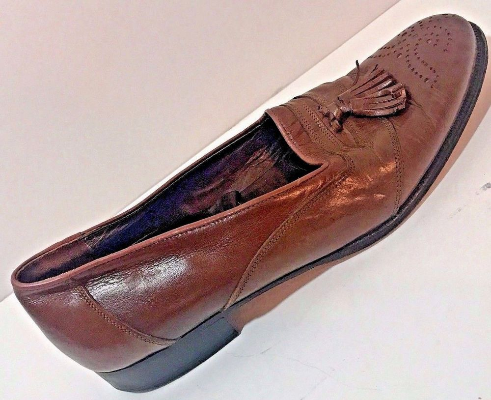 Lanvin Paris Mens Shoes Loafer Tassel Leather Italy Size 7.5 Brown Brogue EU 40