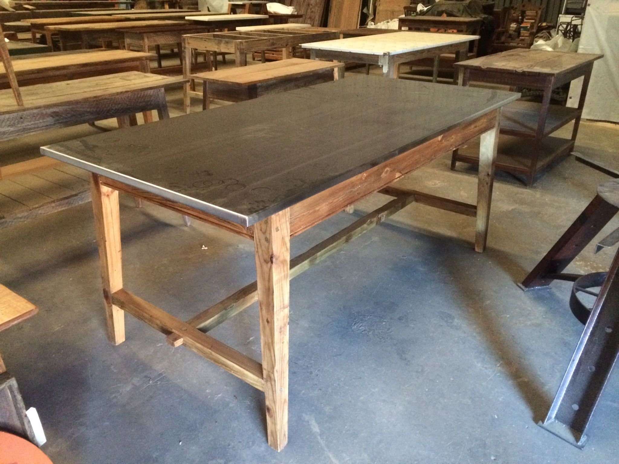 Kitchen Island With Stainless Steel Top Base Made From Old Reclaimed Wood By Landrum Tables