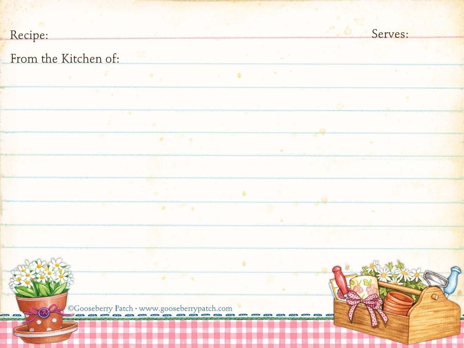 Classic Kitchen Shower Recipe Cards  Red Brown White  Recipe